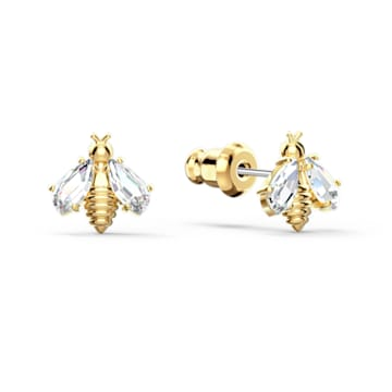 Eternal Flower Bee 穿孔耳环, 白色, 镀金色调 - Swarovski, 5518143