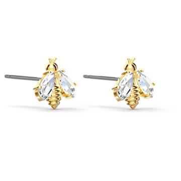 Eternal Flower earrings, Bee, White, Gold-tone plated - Swarovski, 5518143