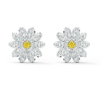 Cerceii mici cu șurub Eternal Flower, galben, finisaj metalic mixt - Swarovski, 5518145