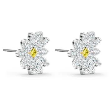 Brincos para orelhas furadas Eternal Flower, amarelos, acabamento em vários metais - Swarovski, 5518145