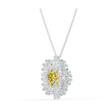 Broche Eternal Flower, amarillo, combinación de acabados metálicos - Swarovski, 5518147