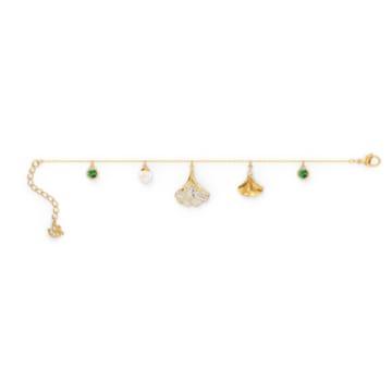 Stunning Gingko 手链, 绿色, 镀金色调 - Swarovski, 5518173