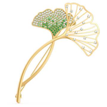 Stunning Gingko 胸针, 绿色, 镀金色调 - Swarovski, 5518174