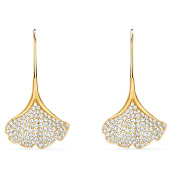 Stunning Gingko 穿孔耳環, 白色, 鍍金色色調 - Swarovski, 5518176