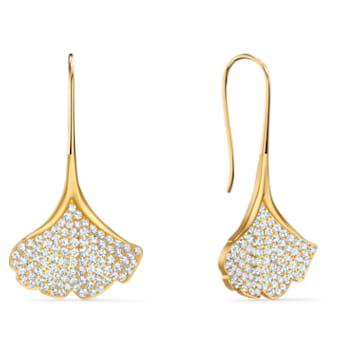 Stunning Gingko Pierced Earrings, White, Gold-tone plated - Swarovski, 5518176