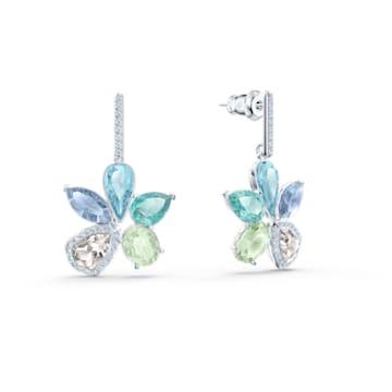 Sunny Pierced Earrings, Light multi-coloured, Rhodium plated - Swarovski, 5518416
