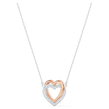 Swarovski Infinity necklace, Heart, White, Mixed metal finish - Swarovski, 5518868