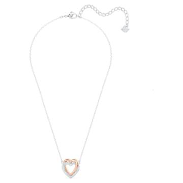 Swarovski Infinity Double Heart 네크리스, 화이트, 믹스메탈 피니시 - Swarovski, 5518868