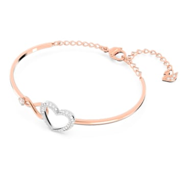Pulseira bangle Swarovski Infinity Heart, branca, acabamento em vários metais - Swarovski, 5518869