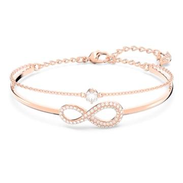 Swarovski Infinity Жёсткий браслет, Белый Кристалл, Покрытие оттенка розового золота - Swarovski, 5518871