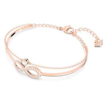 Kruhový náramek Swarovski Infinity, bílý, pozlacený růžovým zlatem - Swarovski, 5518871