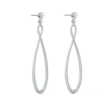 Swarovski Infinity Hoop bedugós fülbevaló, fehér, ródium bevonattal - Swarovski, 5518878
