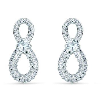 Swarovski Infinity 穿孔耳环, Infinity, 白色, 镀铑 - Swarovski, 5518880