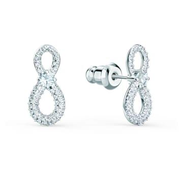 Brincos para orelhas furadas Swarovski Infinity Mini, brancos, banhados a ródio - Swarovski, 5518880