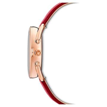 Crystalline Glam Uhr, Lederarmband, Rot, Roségold-Legierungsschicht PVD-Finish - Swarovski, 5519219