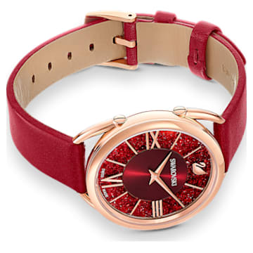 Crystalline Glam Uhr, Lederarmband, Rot, Roségoldfarbenes PVD-Finish - Swarovski, 5519219