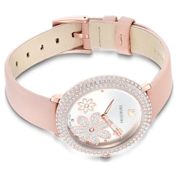 Montre Crystal Frost, bracelet en cuir, rose, PVD doré rose - Swarovski, 5519223