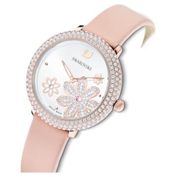 Relógio Crystal Frost, pulseira em cabedal, rosa, PVD rosa dourado - Swarovski, 5519223