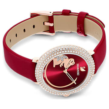 Crystal Frost Watch, Leather strap, Red, Rose-gold tone PVD - Swarovski, 5519226