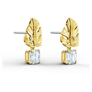 Tropical Leaf 穿孔耳环, 白色, 镀金色调 - Swarovski, 5519253