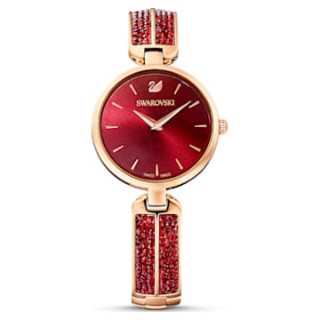Montre Dream Rock, bracelet en métal, rouge, PVD doré rose - Swarovski, 5519312