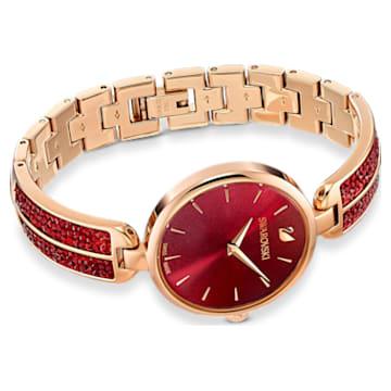 Dream Rock Uhr, Metallarmband, rot, rosé vergoldetes PVD-Finish - Swarovski, 5519312