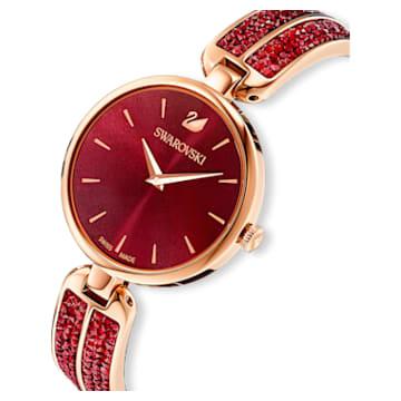 Hodinky Dream Rock, s kovovým páskem, červené, PVD v odstínu růžového zlata - Swarovski, 5519312