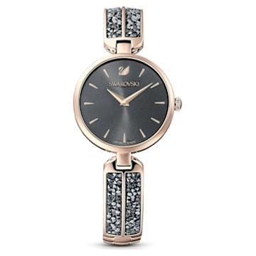 Reloj Dream Rock, brazalete de metal, gris, PVD tono oro champán - Swarovski, 5519315