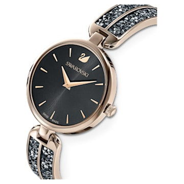 Montre Dream Rock, bracelet en métal, gris, PVD doré champagne - Swarovski, 5519315