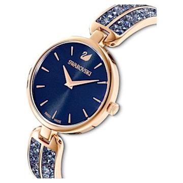 Dream Rock Часы, Металлический браслет, Синий Кристалл, PVD-покрытие оттенка розового золота - Swarovski, 5519317