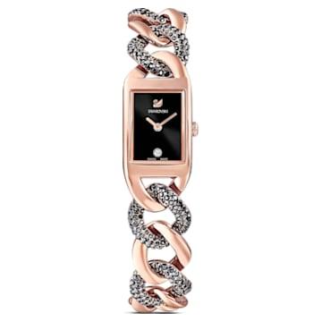 Zegarek Cocktail, Metalowa bransoletka, Czarny, Powłoka w odcieniu różowego złota - Swarovski, 5519324