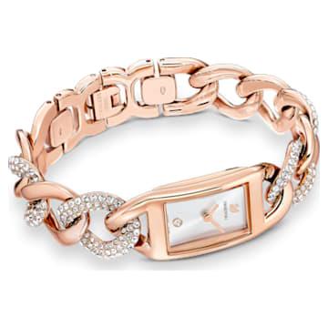 Orologio Cocktail, Bracciale di metallo, Tono oro rosa, PVD oro rosa - Swarovski, 5519327