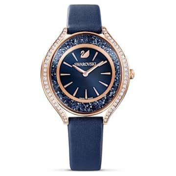 Crystalline Aura 手錶, 真皮錶帶, 藍色, 玫瑰金色調PVD - Swarovski, 5519447