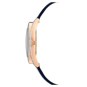 Montre Crystalline Aura, bracelet en cuir, bleu, PVD doré rose - Swarovski, 5519447