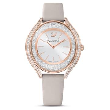 Crystalline Aura Watch, Leather strap, Grey, Rose-gold tone PVD - Swarovski, 5519450