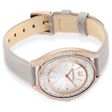 Hodinky Crystalline Aura, s koženým páskem, šedé, PVD v odstínu růžového zlata - Swarovski, 5519450