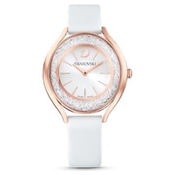 Crystalline Aura 腕表, 真皮表带, 白色, 玫瑰金色调 PVD - Swarovski, 5519453
