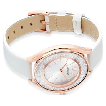 Relógio Crystalline Aura, pulseira em cabedal, branco, PVD em tom rosa dourado - Swarovski, 5519453