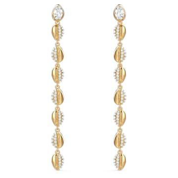 Boucles d'oreilles Shell Cowrie, blanc, métal doré - Swarovski, 5520474