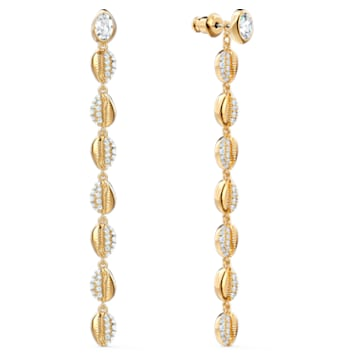 Shell Cowrie Pierced Earrings, White, Gold-tone plated - Swarovski, 5520474