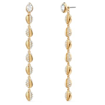 Shell Cowrie pierced earrings, Shell, White, Gold-tone plated - Swarovski, 5520474