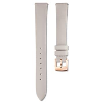 14mm Watch strap, Leather, Light grey, Rose-gold tone plated - Swarovski, 5520529