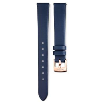 Cinturino per orologio 14mm, Pelle, blu, placcato color oro rosa - Swarovski, 5520531