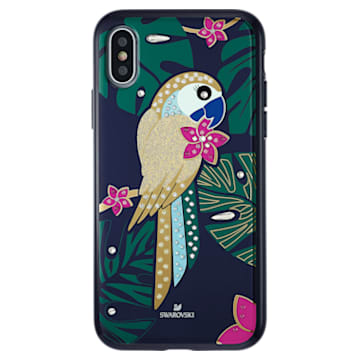 Coque rigide pour smartphone avec cadre amortisseur Tropical Parrot, iPhone® X/XS, multicolore sombre - Swarovski, 5520550