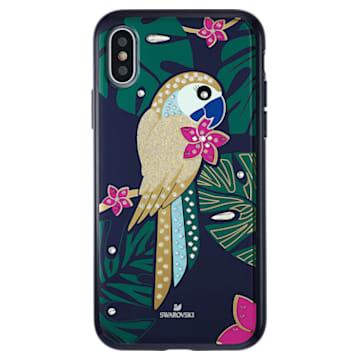 Custodia per smartphone con bordi protettivi Tropical Parrot, iPhone® X/XS, multicolore scuro - Swarovski, 5520550