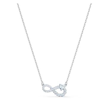 Swarovski Infinity 項鏈, 白色, 鍍白金色 - Swarovski, 5520576