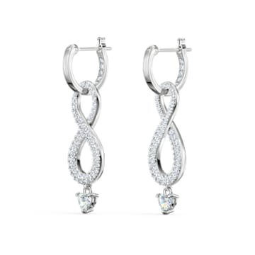Τρυπητά σκουλαρίκια Swarovski Infinity, λευκά, επιροδιωμένα - Swarovski, 5520578
