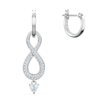 Brincos para orelhas furadas Swarovski Infinity, brancos, banhados a ródio - Swarovski, 5520578