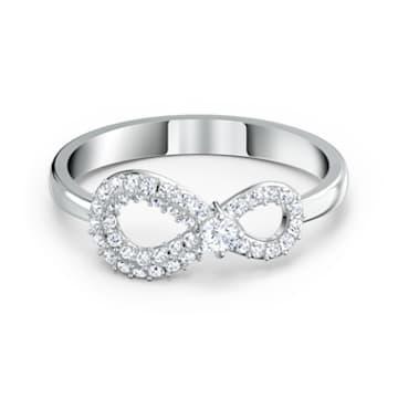 Pierścionek Swarovski Infinity, biały, powlekany rodem - Swarovski, 5520580