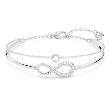 Pulseira bangle Swarovski Infinity, branca, banhada a ródio - Swarovski, 5520584